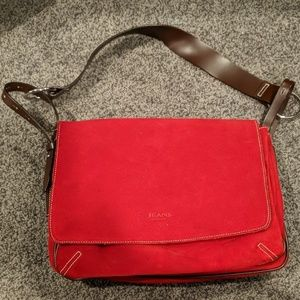 Les Copains Jeans Red light suede hobo bag